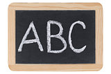 The letters ABC on a blackboard at school