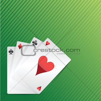 Cards and pack of playing cards on the table