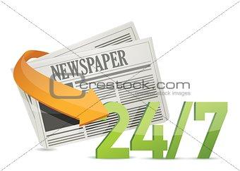 24 7 news, newspaper concept