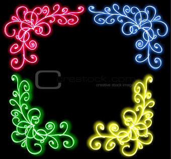 the neon glow of flourishes green,pink, yellow, blue