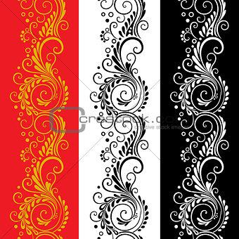 Three decorative flower seamless patterns