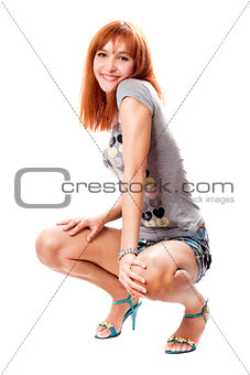 Cheerful red-haired girl
