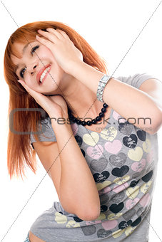Close-up portrait of cheerful red-haired girl