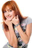 Close-up portrait of pretty red-haired girl