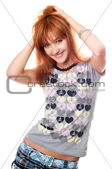 Portrait of attractive red-haired girl