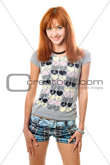 Portrait of cheerful lovely red-haired girl