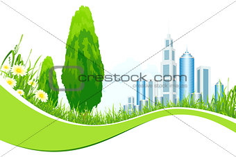 Abstract Isolated Background with City Line