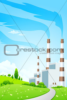 Green Landscape with Power Plant