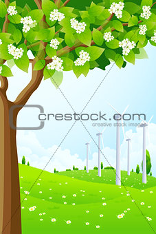 Green Landscape with Wind Power Plant