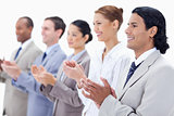 Close-up of  happy business people applauding