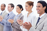 Close-up of a business team applauding