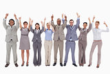 Business team raising their arms with the thumbs up