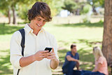 Close-up of a young man using a smartphone