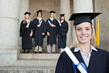Close-up of a blonde graduate