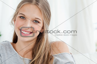Close up of smiling girl looking at the camera