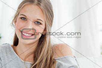 Close up of smiling girl looking at the camera