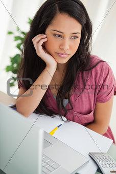 Bored brunette student