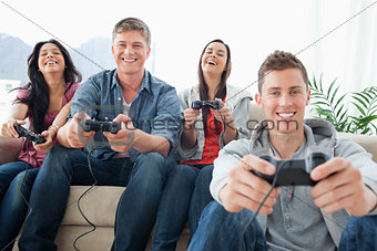 A laughing group enjoying the game together