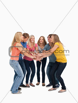 A group of friends about to cheer
