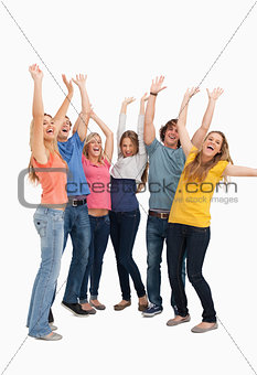 A jumping happy group cheering