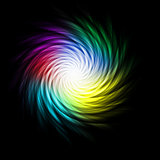 Bright multicolored curves making a spiral