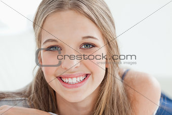 A smiling girl looking at the camera