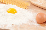 Egg yolk on the flour