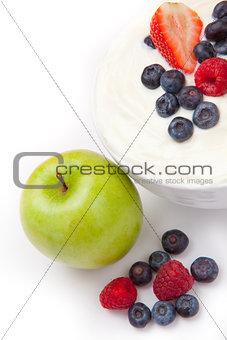 Berries cream and apple