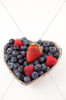 Fruits in a heart shaped bowl