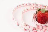Close up of a strawberry surrounded by a ruler