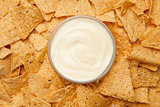 Bowl of dip placed among nachos