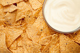 Nachos surrounding a bowl of white dip