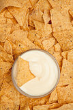 Chips surrounding a  bowl of dip