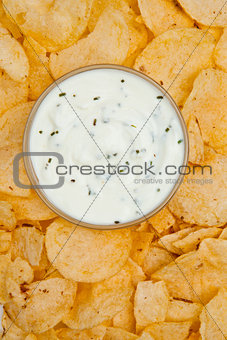 Close up of a bowl of white dip surrounded by nachos