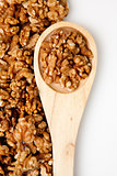 Wooden spoon with nuts