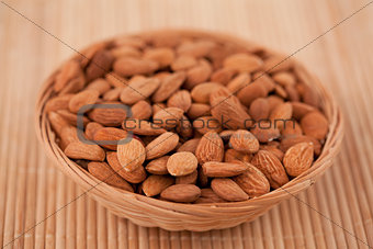 Bowl full of roasted almonds