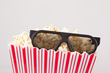 3D glasses and a box of popcorn