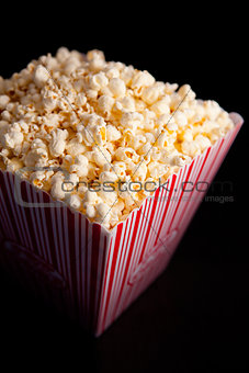 Close up of a box of pop corn