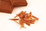 Chocolate shavings and chocolate pieces together