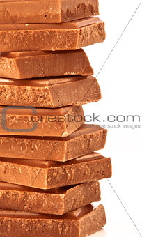 Close up of a pile of chocolate