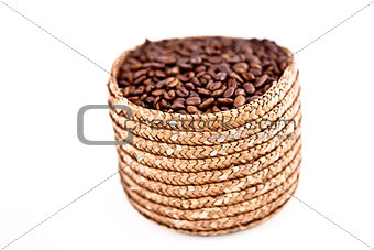 A basket full of coffee seeds