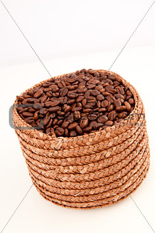 Close up of a basket full of coffee seeds