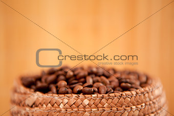 Top of a basket full of coffee seeds