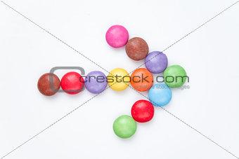 Arrow of candies