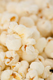 Close up on many blurred pop corn