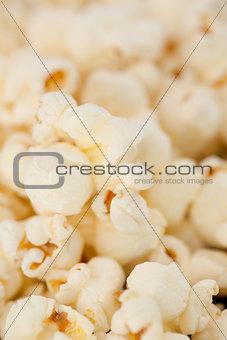 Close up on many blurred pop corn