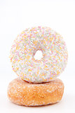 Doughnut with multi coloured icing sugar 