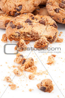 Close up of cookies piled up together