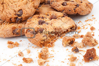 Close up of many cookies piled up together