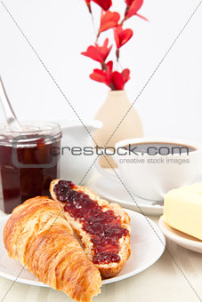 Table presentation with croissant spread with jam